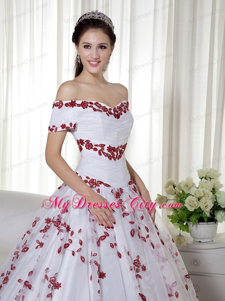 White and Red Off Shoulder Embroidery Ruched Quinceanera Dress ...
