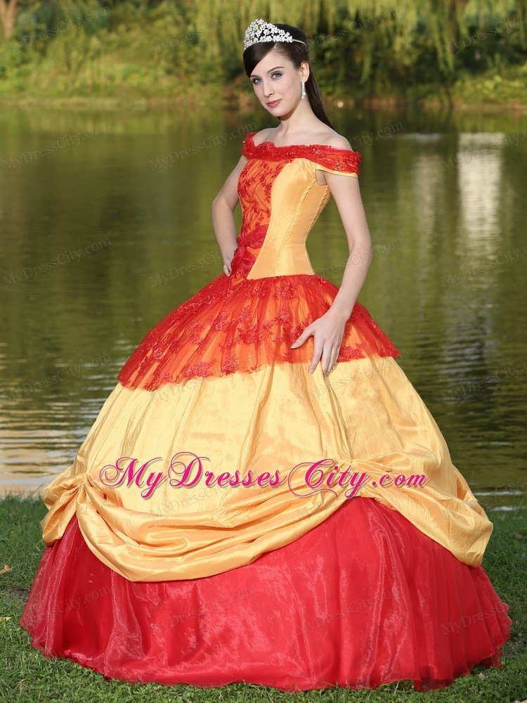 Red and Gold Off The Shoulder Pick Up 2013 Quinceanera ...