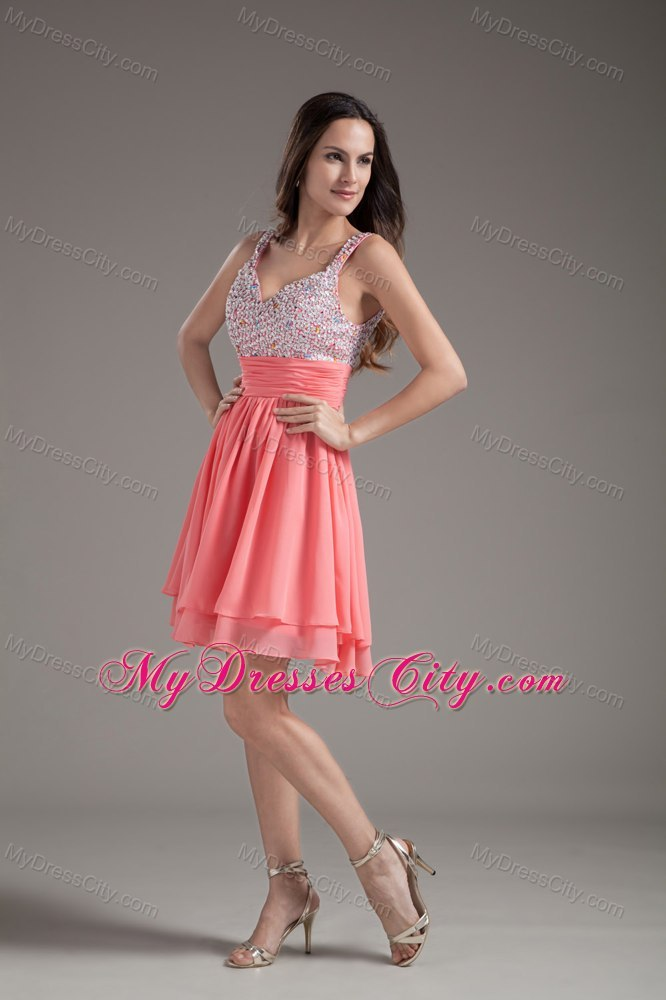 A-Line Straps Beading Watermelon Short Prom Dresses Under 100
