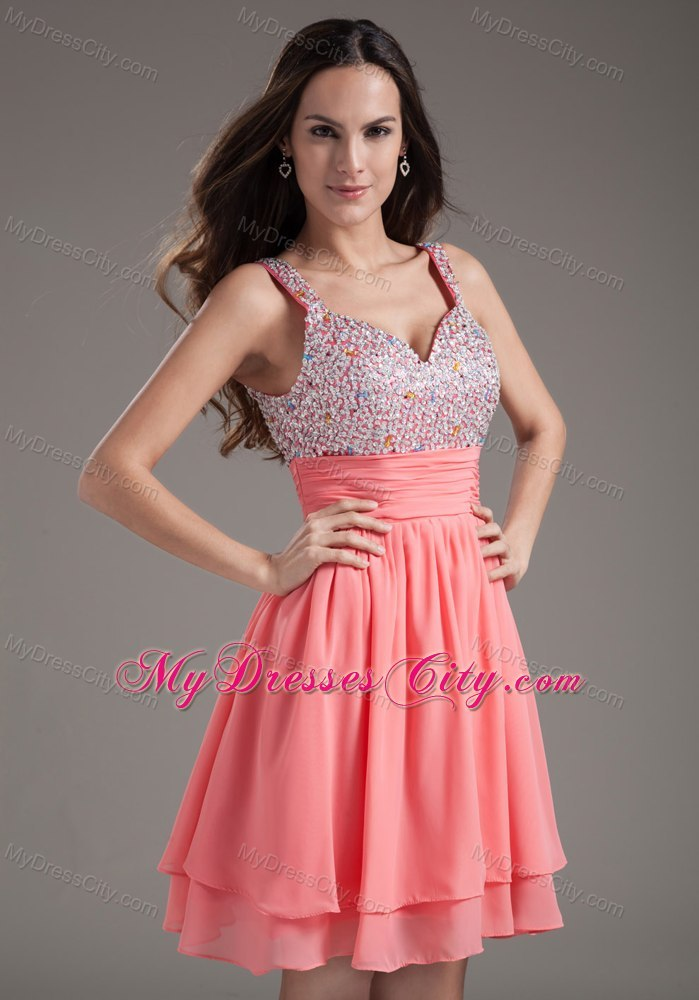 A Line Straps Beading Watermelon Short Prom Dresses Under 100
