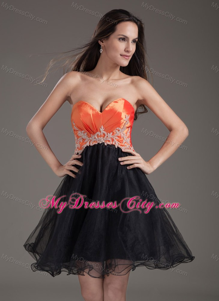 Orange and black homecoming dress
