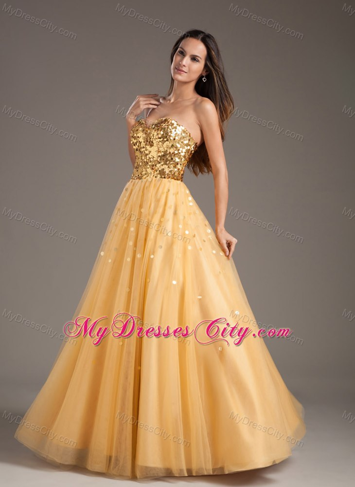 Hot Sale Sweetheart Sequins Gold Prom Dress for Girls ...