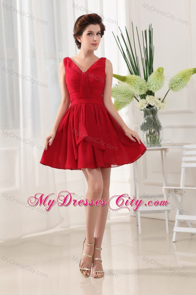 Red V-neck Cocktail Dress With Mini-length and Ruffles ...