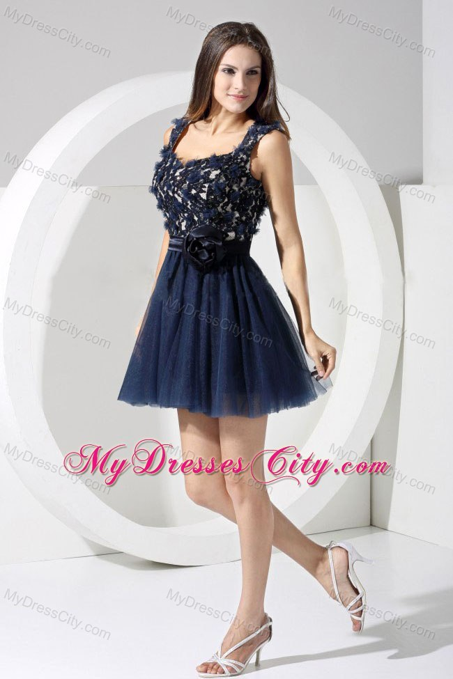 Lace Handmade Flowers Navy Blue Short Backless Cocktail Dress