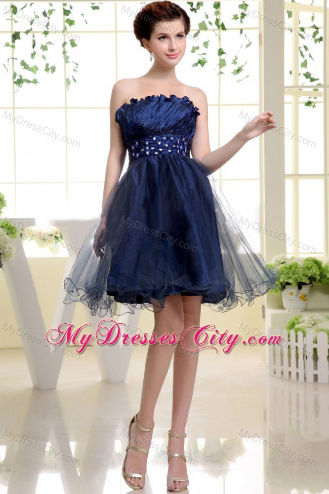 Blue Strapless Curly Neck Beaded Organza Short Cocktail Dress
