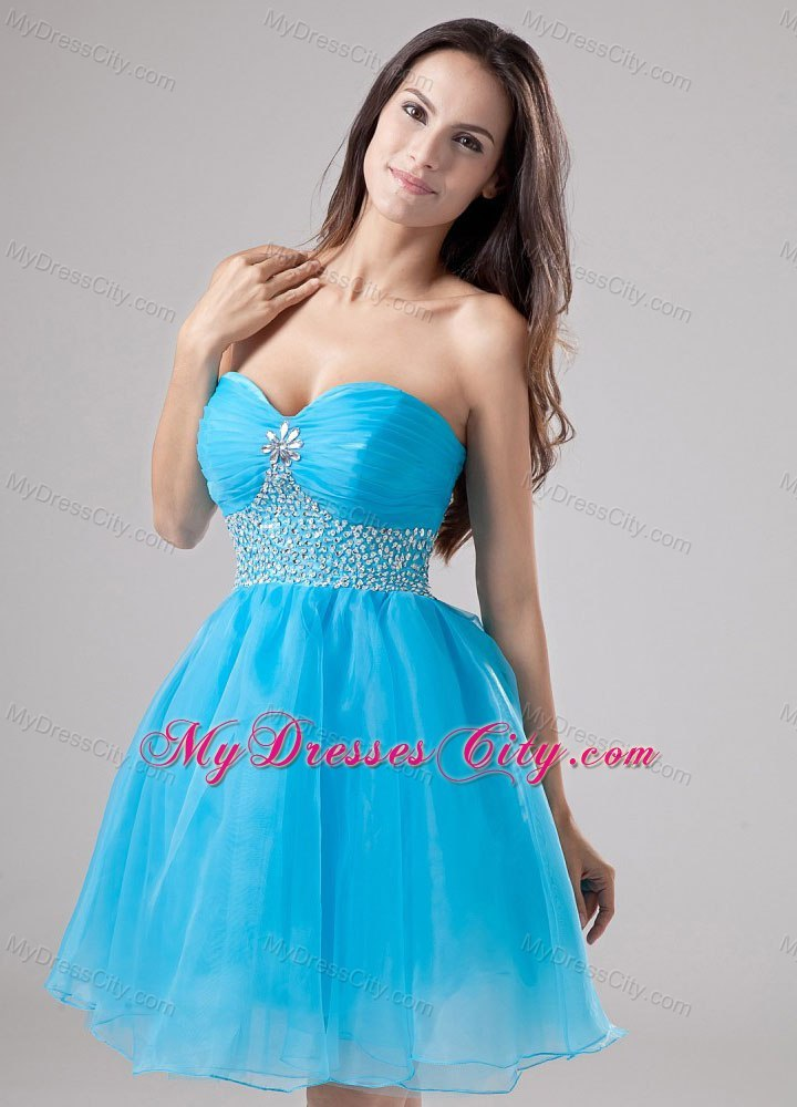 Sweetheart Mini Length Organza Blue Prom Cocktail Dresses