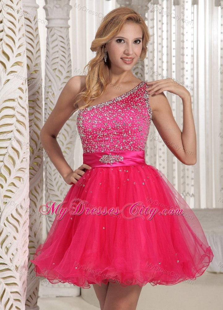 One Shoulder Beaded Organza Hot Pink Short Prom Cocktail Dress ...