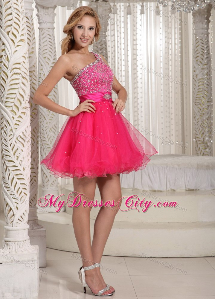 One Shoulder Beaded Organza Hot Pink Short Prom Cocktail Dress