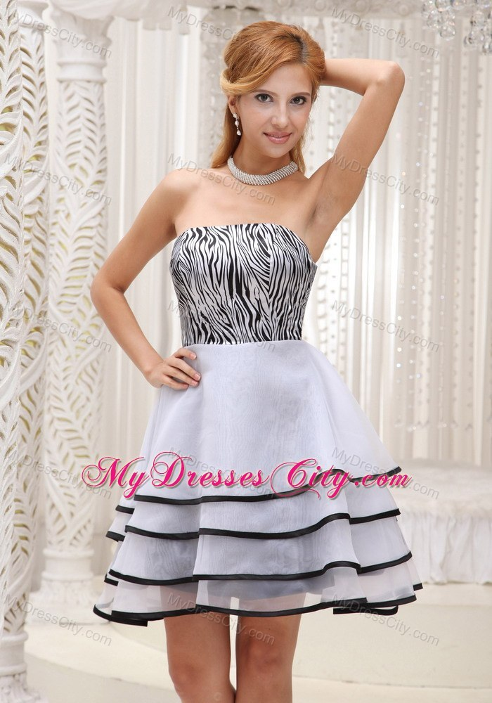Zebra Strapless Layered Cool Back Cocktail Dress with Black Hem ...