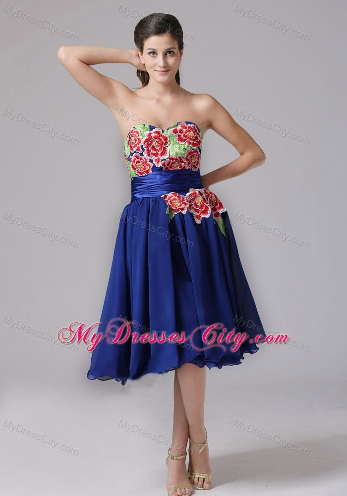 Appliques Sweetheart Knee-length Cool Back Prom Cocktail Dress