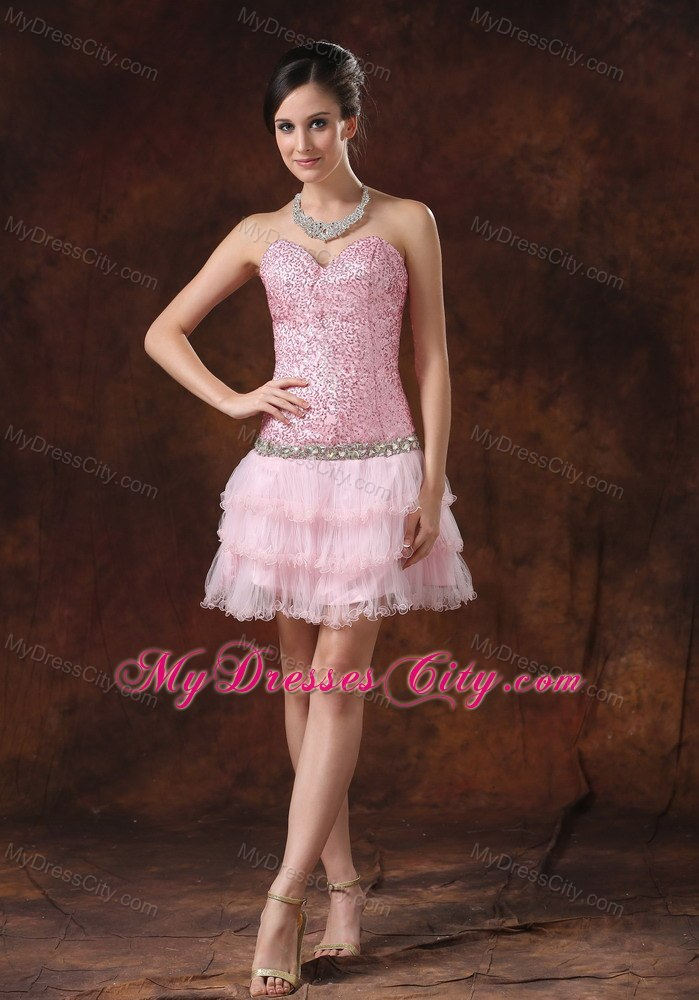 sequin and tulle pink sweetheart 2013 prom cocktail dress