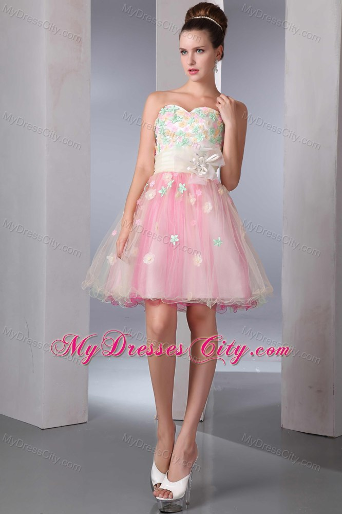 Colorful A-line Sweetheart Organza Appliques Cocktail Dress 2013 ...