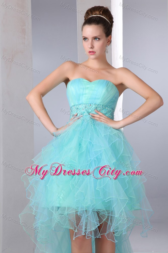 Aqua Blue Sweetheart High-low Cocktail Party Dresses with Organza ...