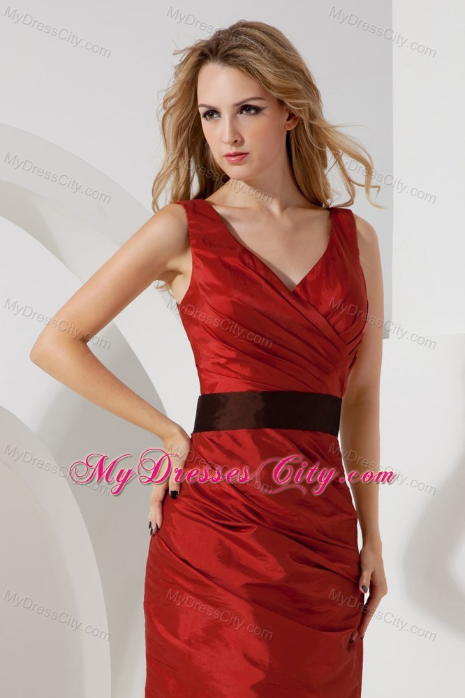 Red Column V Neck 2013 Short Prom Dress Ruches With Belt