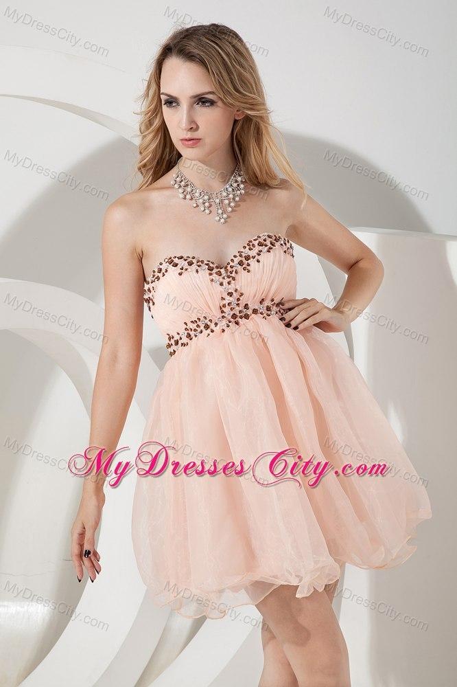 Baby Pink Sweetheart Beading Backless Organza Short Prom