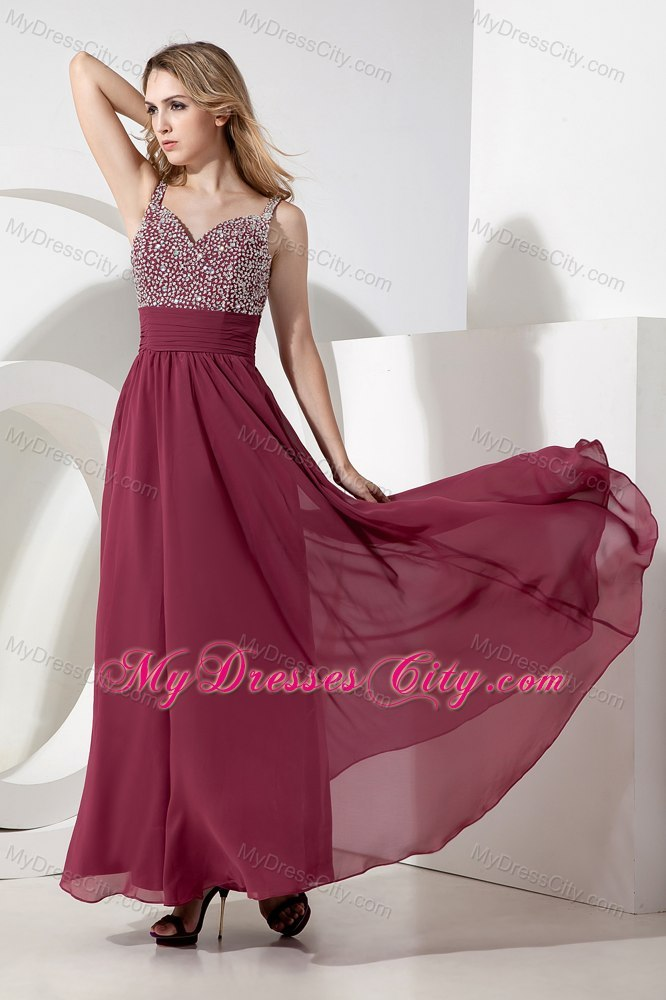 Straps Beading 2013 Burgundy Semi Formal Dress With Side