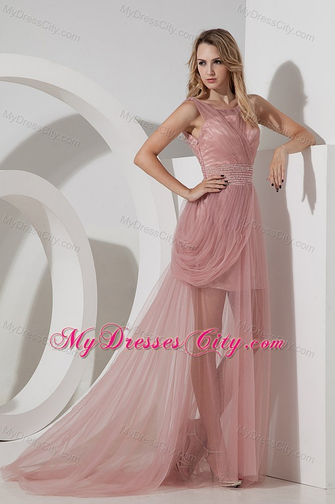 Light Pink Column Scoop Evening Cocktail Dress with Tulle Ruches ...