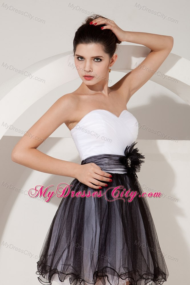 white and black sweetheart sash ruches cocktail dress for