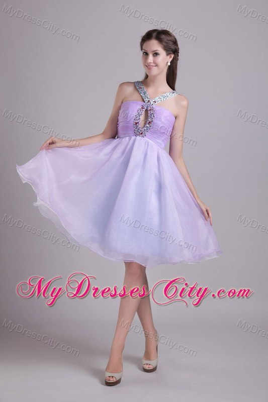 Organza Lilac Knee Length Semi Formal Cocktail Dress With Jeweled