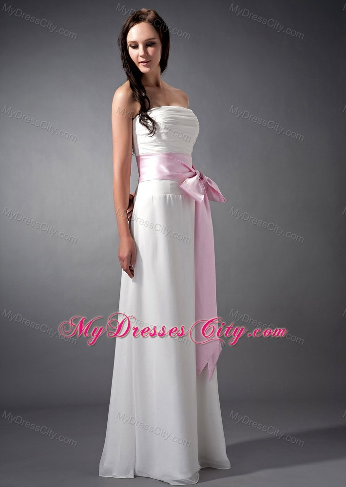 Empire White Strapless Bridesmaid Dama Dresses with Pink Sash ...