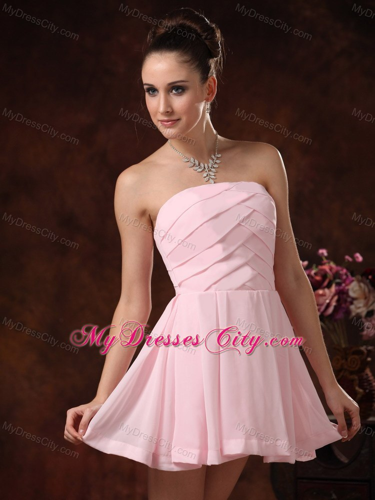Cheap Ruched Mini-length Baby Pink Strapless Cocktail ...