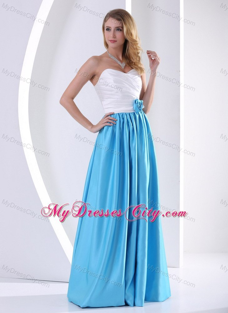 Ruched Sweetheart White and Aqua Blue 15 Dresses for Damas