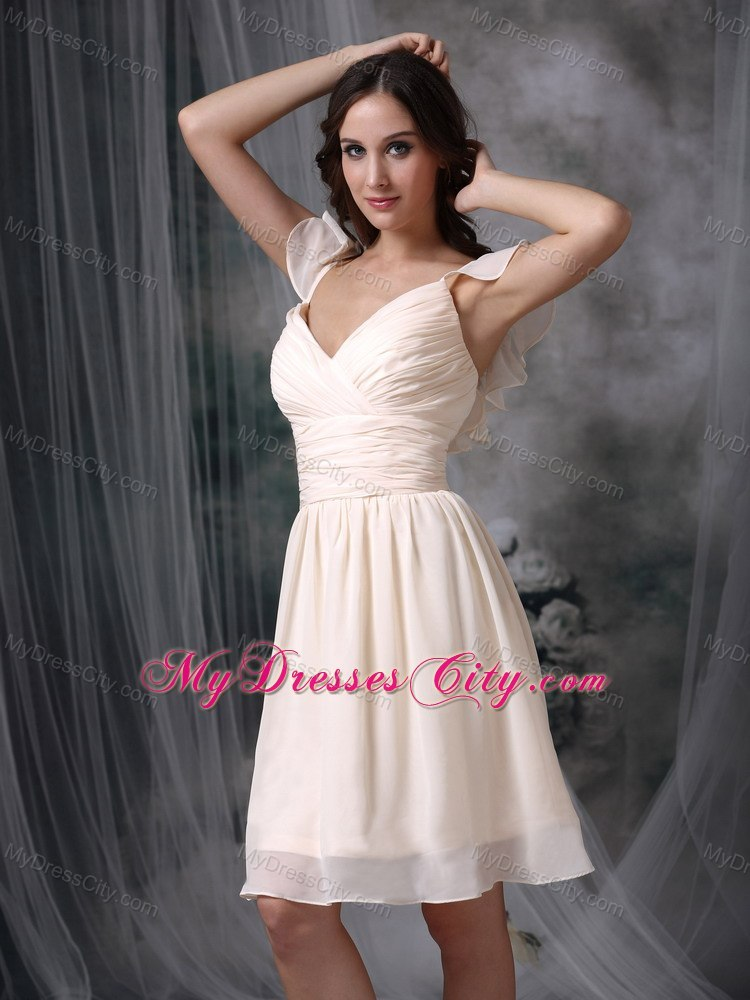 Cream Colored V Neck Ruched Chiffon Bridesmaid Dama