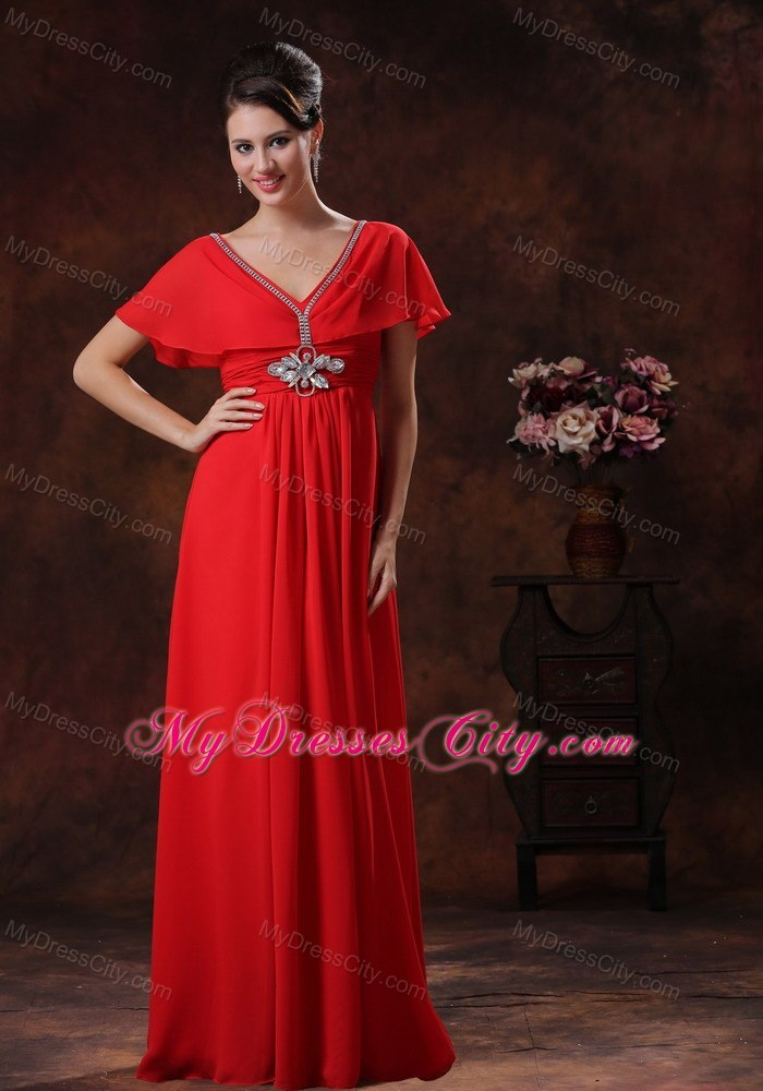Red V-neck Chiffon Maxi Evening Dress With Short Sleeves ...