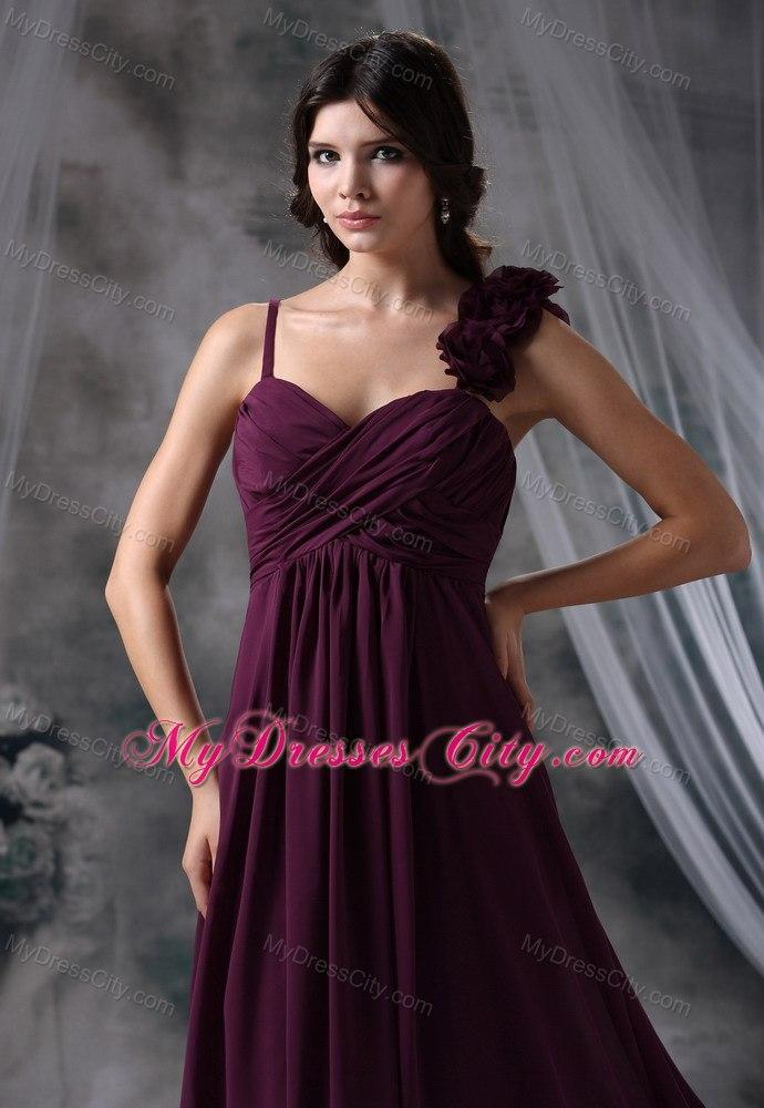 Flowers Ruche And Straps Decorate Dark Purple Homecoming Dress