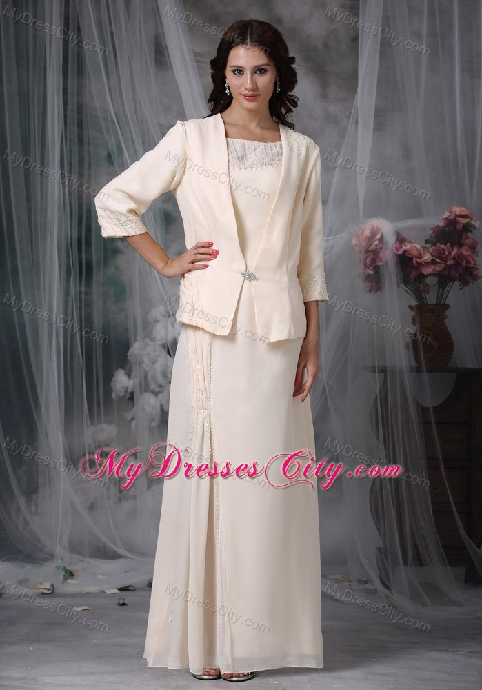 Diamond scoop long mother of the groom dresses with coat for Dresses for mother of the bride winter wedding