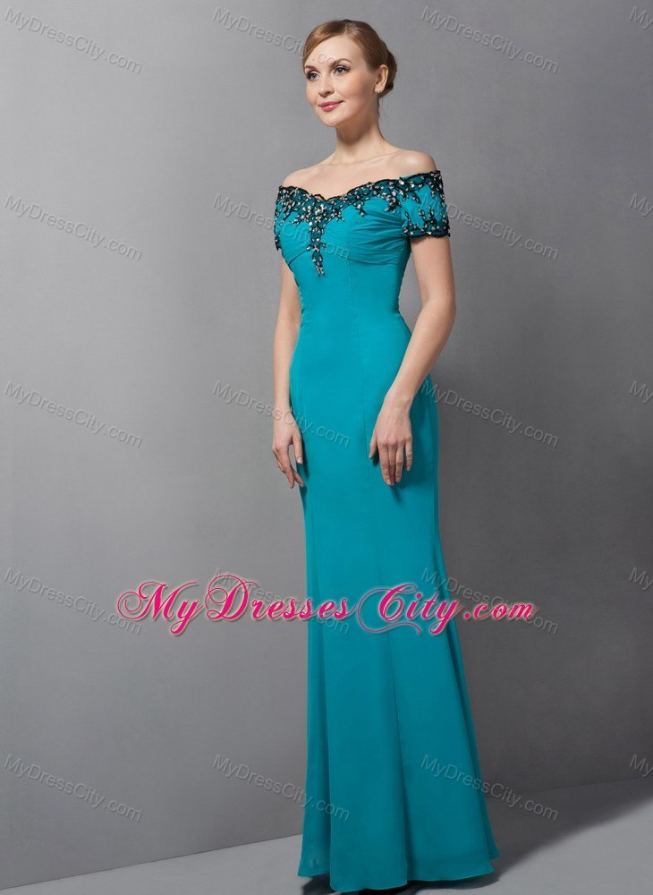 Teal Mermaid Off The Shoulder Floor Length Chiffon Mother Of Bride Dress With Appliques