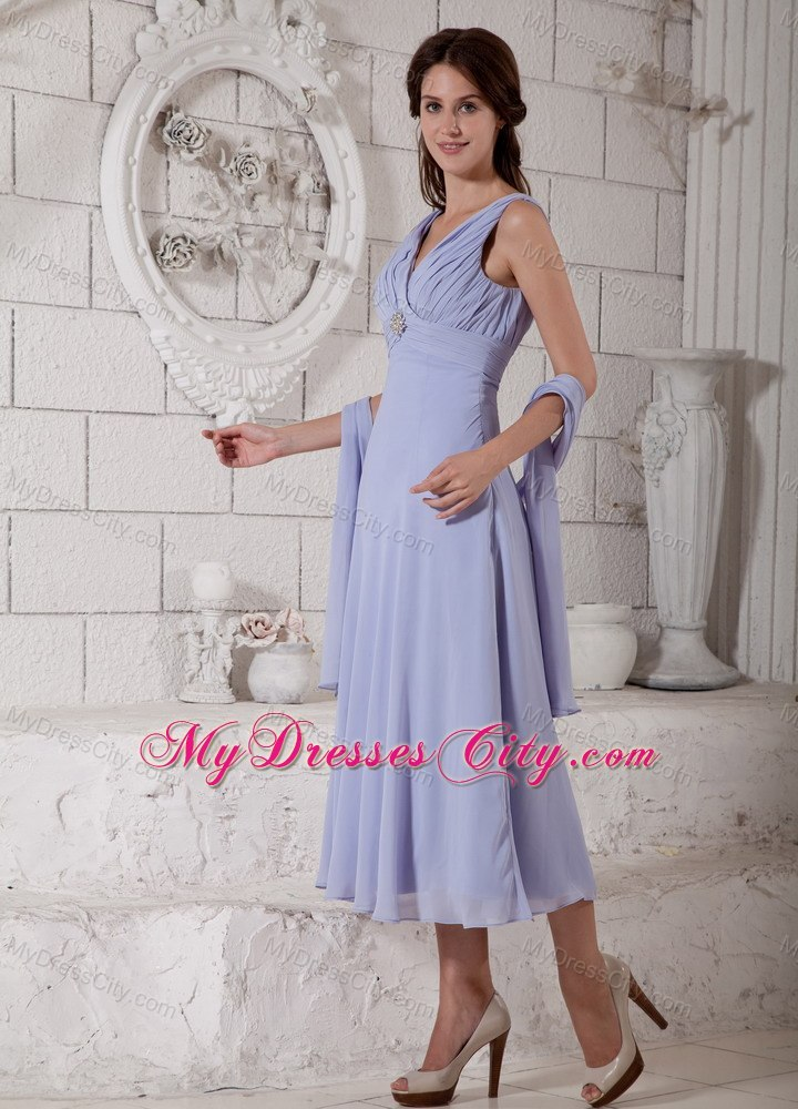 Shawl Neck Tea Length Mother of the Bride Dresses