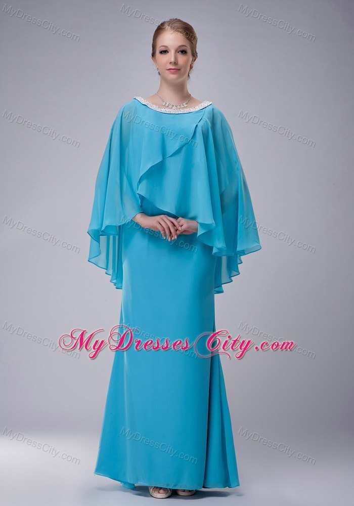 Aqua Blue Column Scoop Butterfly Sleeves Mother Of The Bride Dress ...