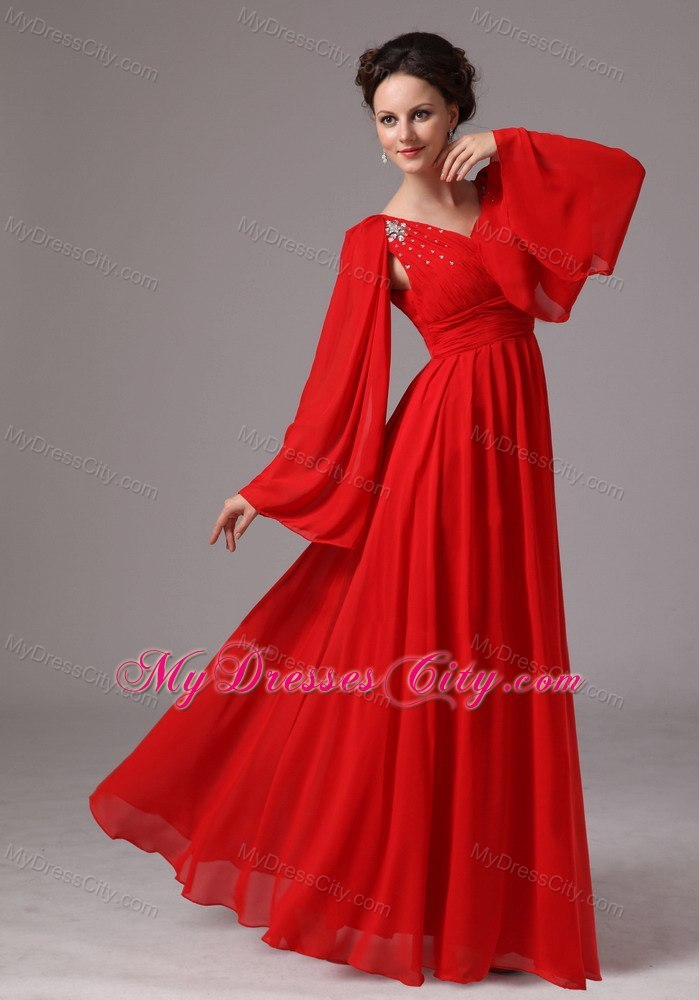 Red Long Sleeves V Neck Ruching Mother Of The Bride Dress With Rhinestones