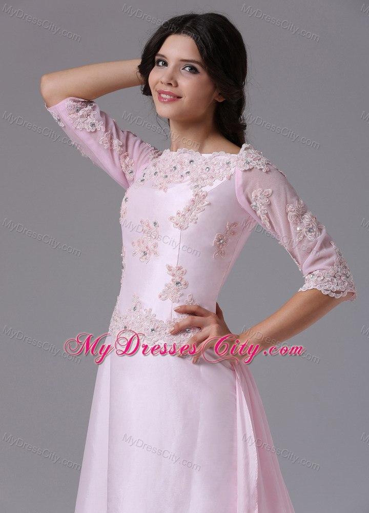appliques bateau baby pink brush train mother bride dress