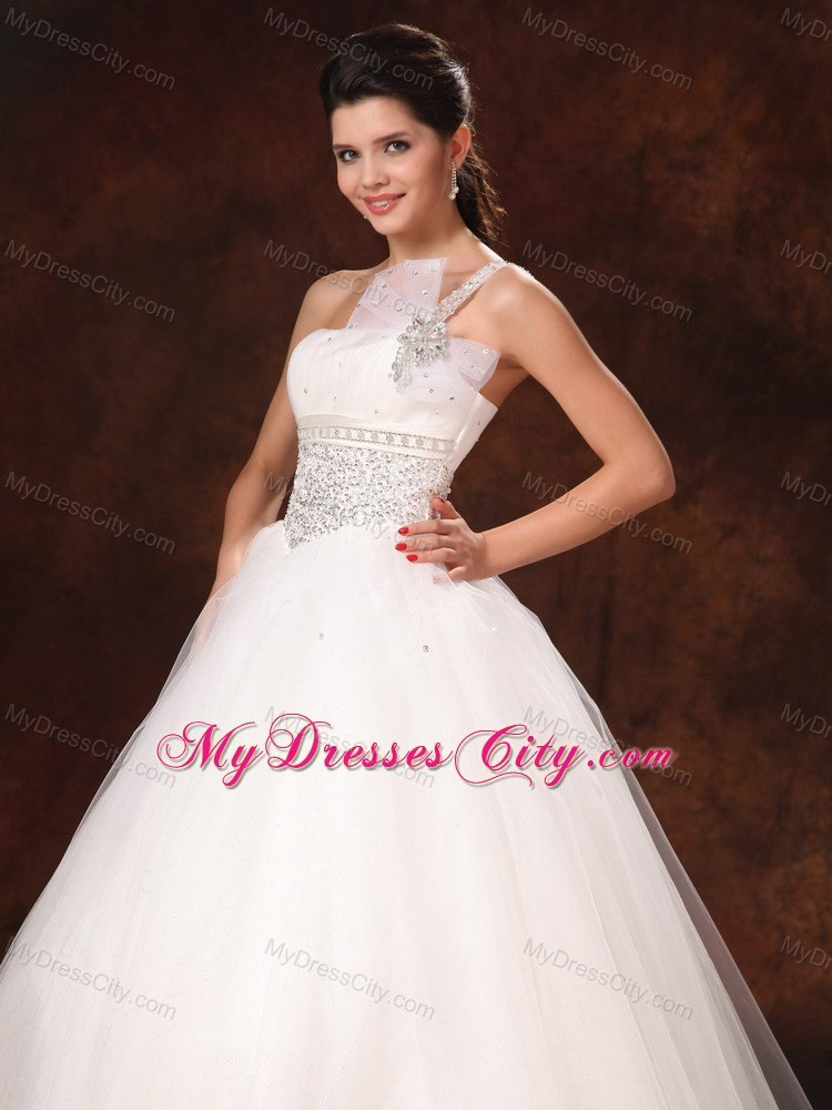 Hottest beading decorate waist one shoulder bowknot for Wedding dress large bust small waist