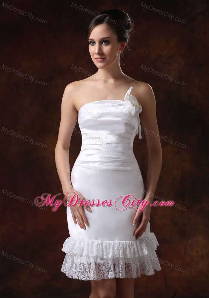 Affordable strapless knee length column lace bridal dress for Knee length lace wedding dress