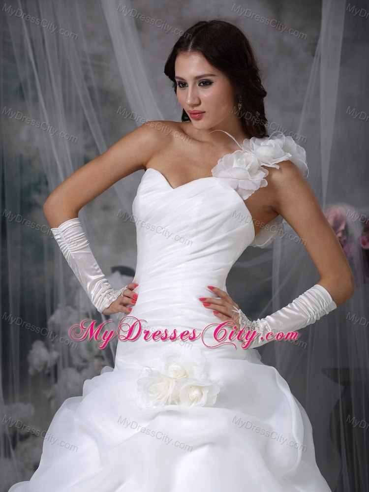2013 Romantic Dropped Waist One Shoulder Flowers Ruching Wedding Dress