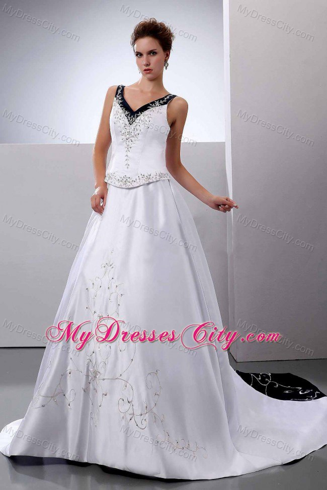 Black And White Empire V Neck Embroidery Court Train Wedding Dresses