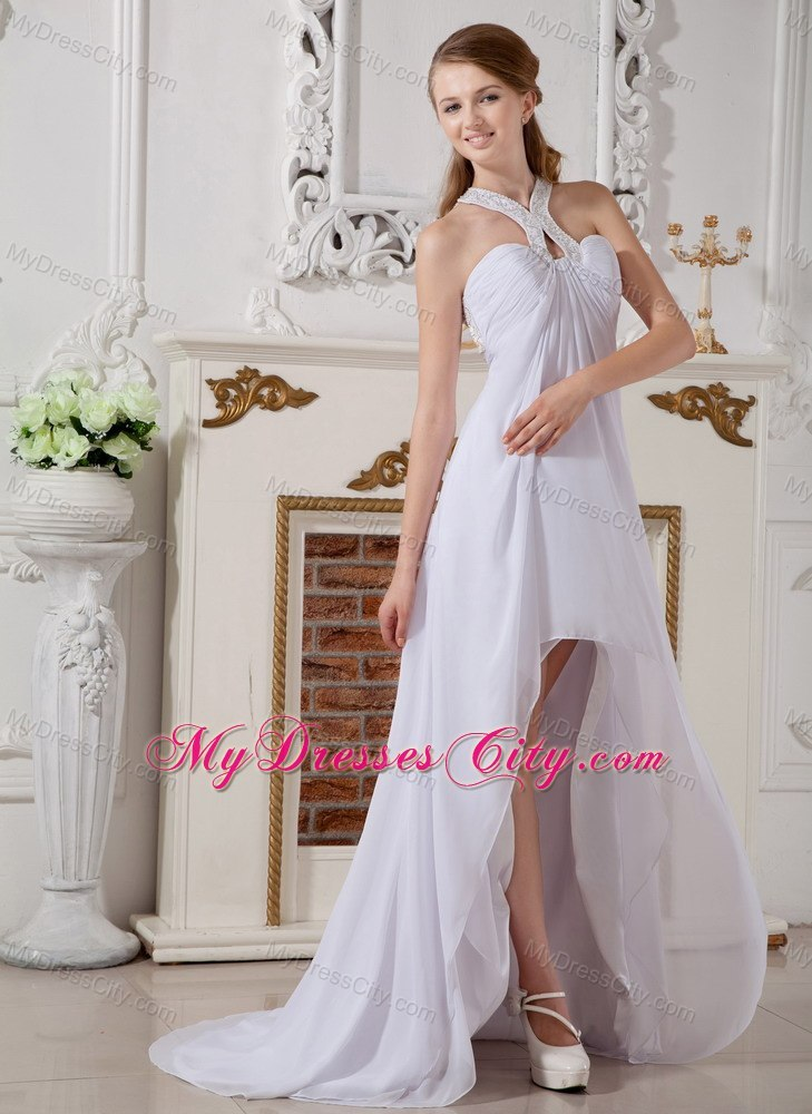 High Low Empire Chiffon Halter Top Beading Wedding Dress With Brush Train