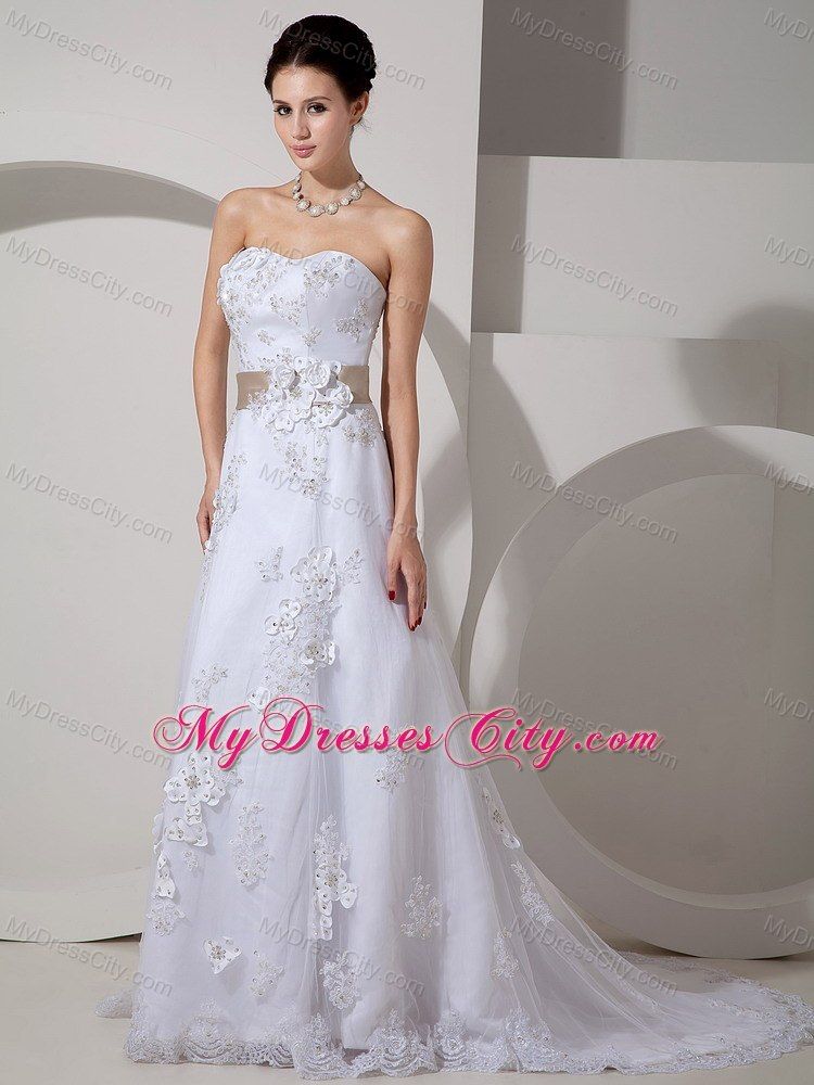 Stylish Long Strapless Slinky Lace Belt Wedding Gown With