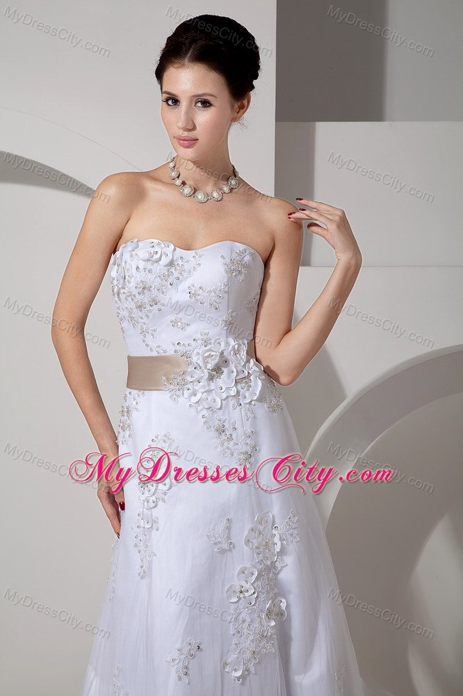 Wedding Dresses With Jewelry : Stylish long strapless slinky lace belt wedding gown with court train