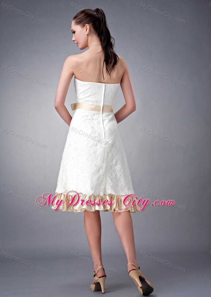 Strapless short white and champagne princess wedding gown for White and champagne wedding dress