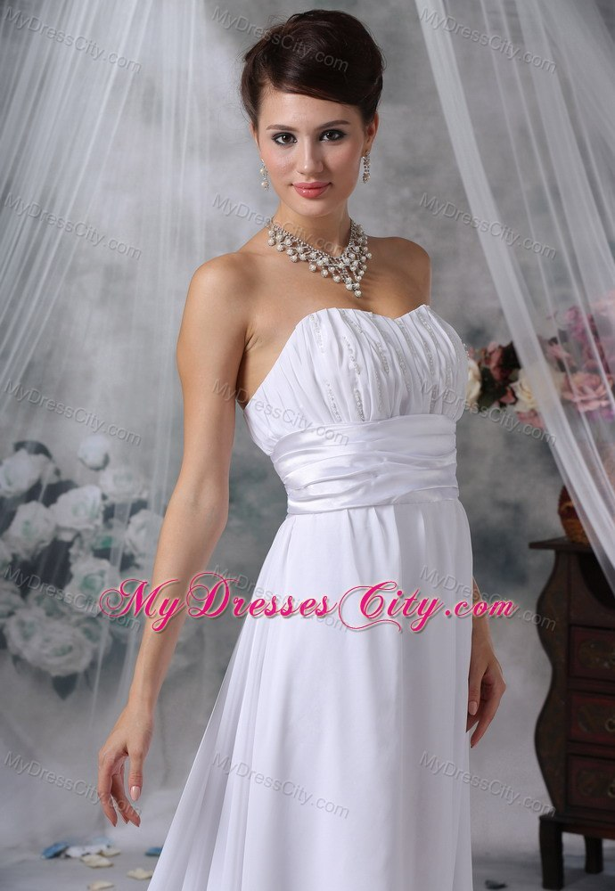 Modest Ruched Bust Court Train Strapless Chiffon Wedding