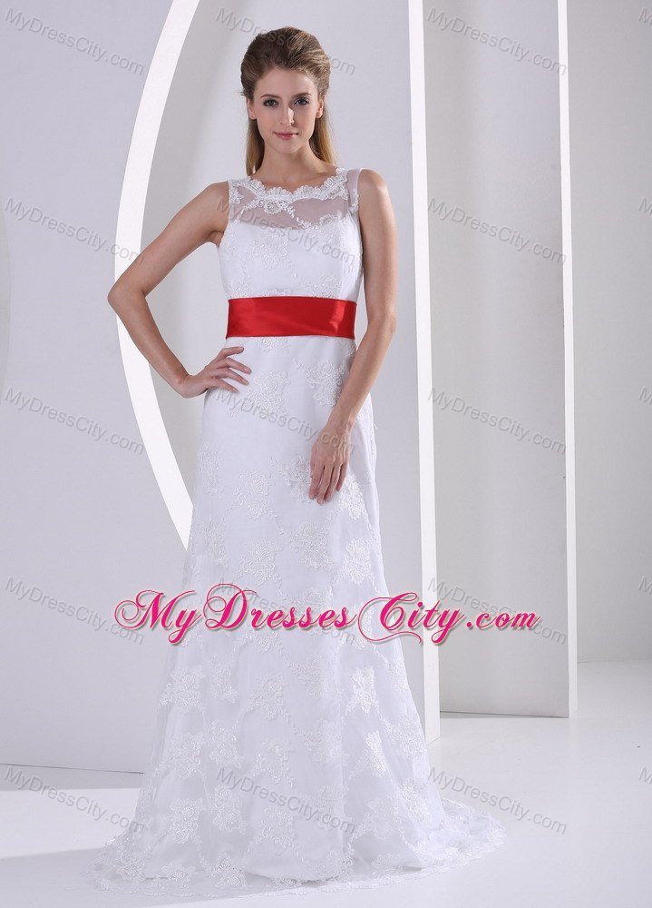 Column Bateau Lace Wedding Dress with Red Sash and V Back ...