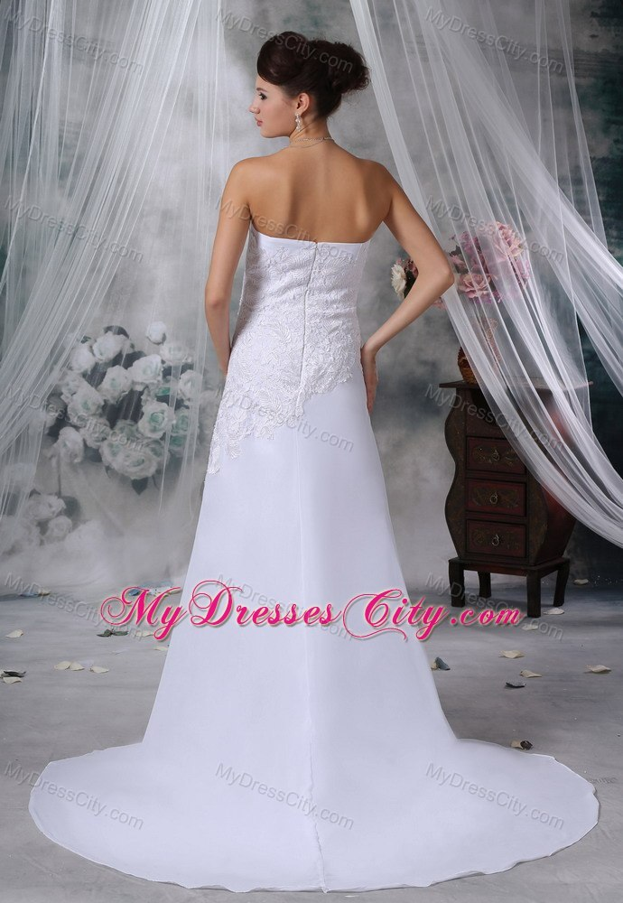 Lace Decorated Bodice Strapless Court Train Wedding Dress ...