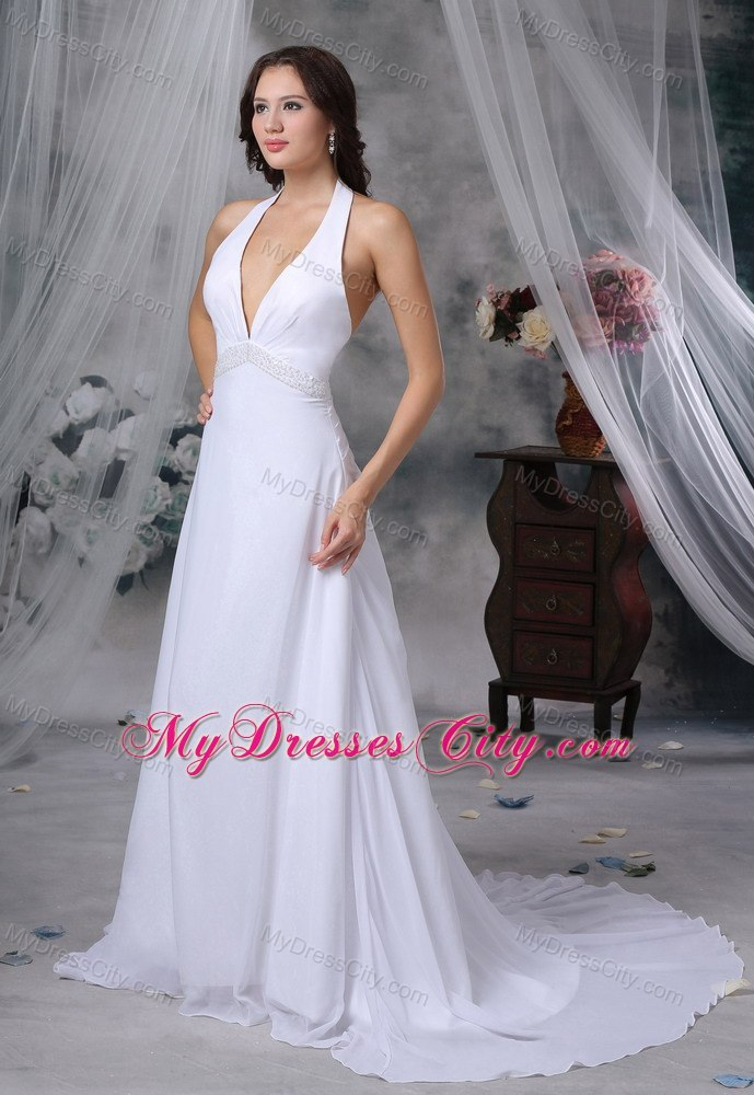 Halter Top Beading Decorated Waist Court Train Wedding Dress