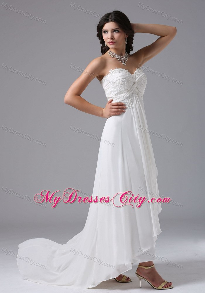 Custom made sweetheart high low beach wedding dress with for Wedding dress high low