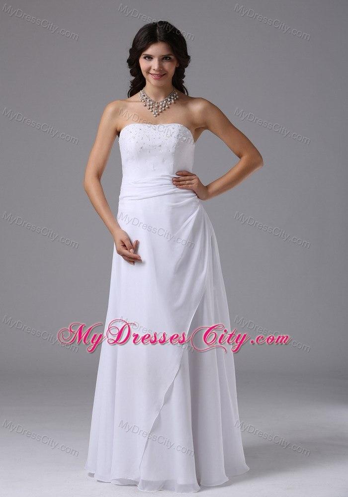 Strapless beaded cheap wedding dress for destination for Cheap destination wedding dresses