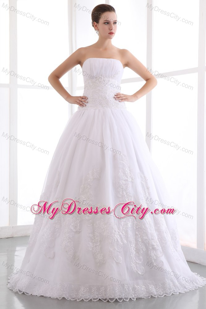 2013 Gorgeous A-line Strapless Long Wedding Dress with Lace
